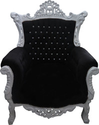 Casa Padrino Baroque Armchair Al Capone Black/white with Bling Bling Glittering