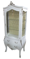 Casa Padrino baroque display case White / Silver - display cabinet - living room cabinet glass cabinet