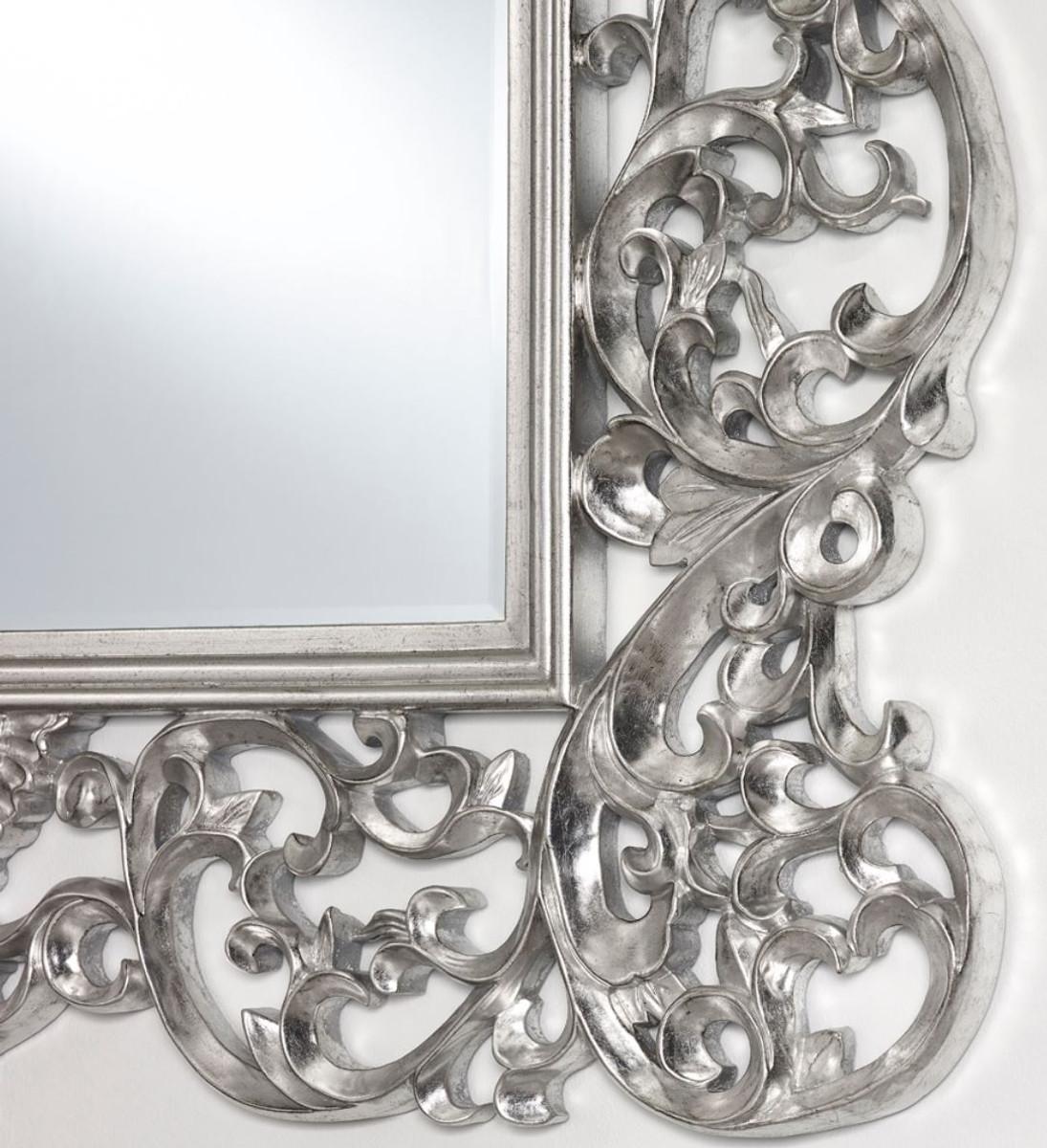 Casa padrino barock spiegel silber 105 x h 154 cm edel prunkvoll spiegel barock spiegel - Barock wandspiegel silber ...