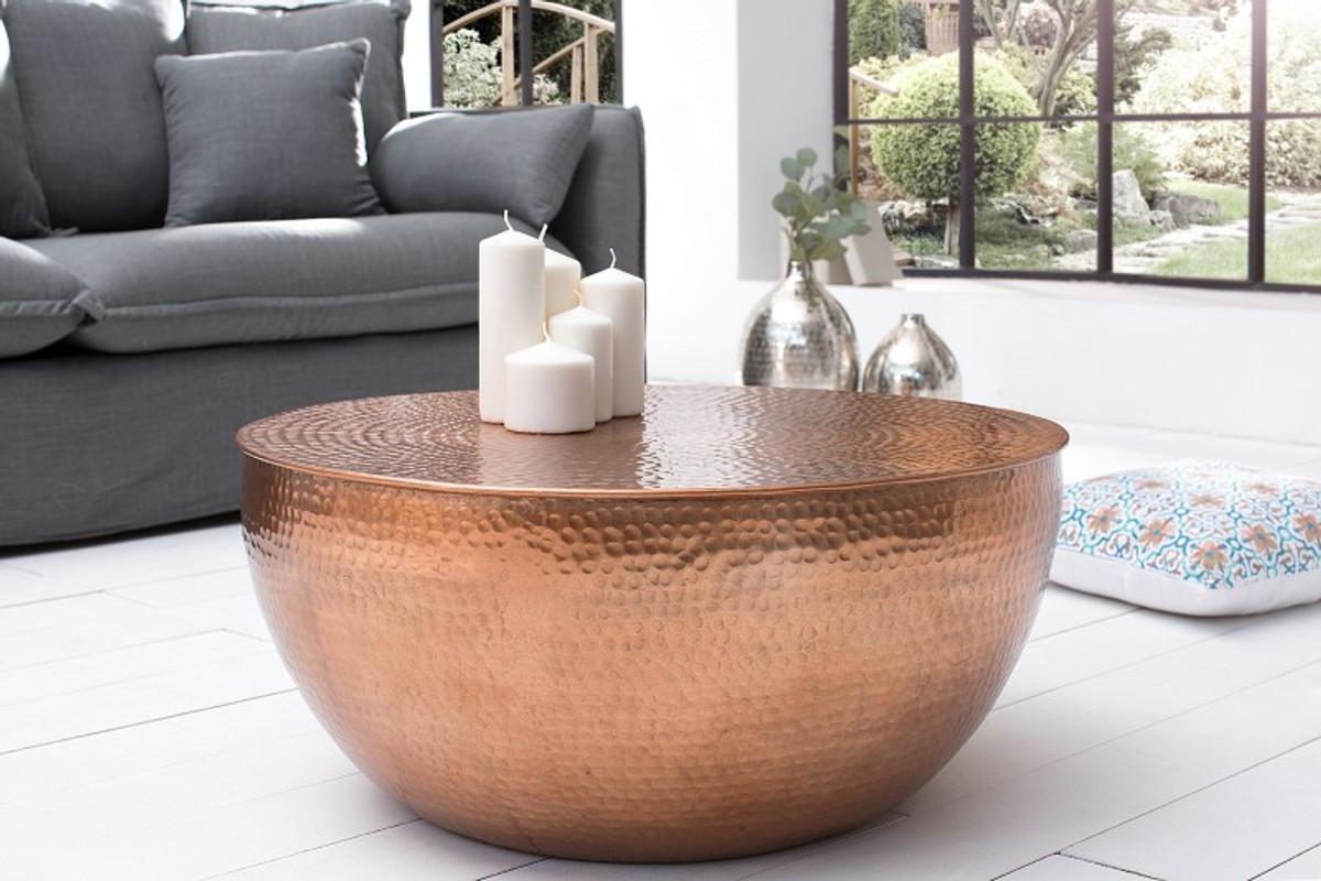 Casa Padrino Luxus Couchtisch kupfer 68 cm Aluminium - Wohnzimmer Salon  Tisch - Unikat