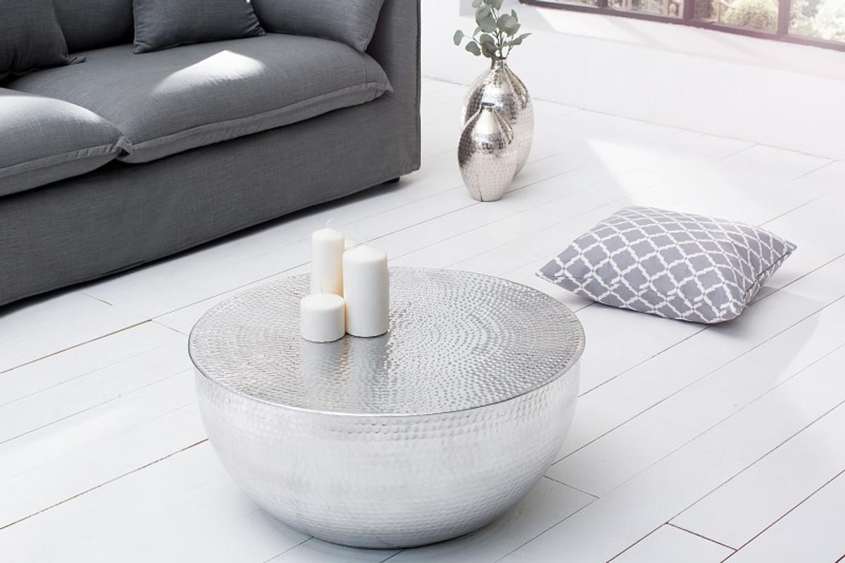 Casa padrino luxus couchtisch silber 68 cm aluminium for Couchtisch luxus