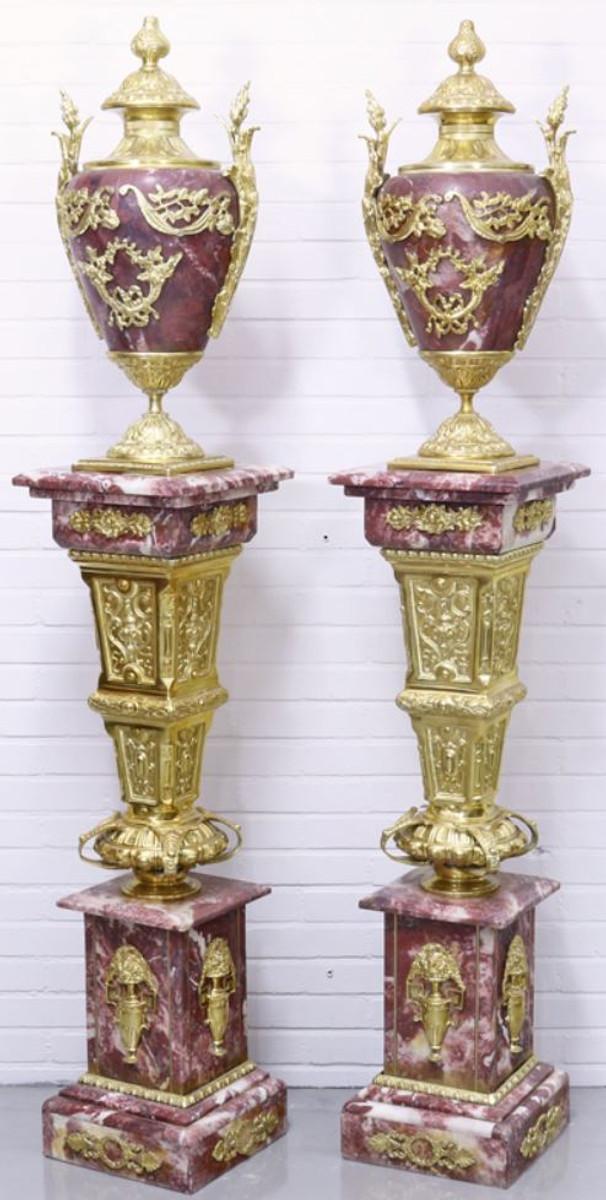 casa padrino barock vasen mit marmor s ulen set rot gold 30 x 30 x h 180 cm edel. Black Bedroom Furniture Sets. Home Design Ideas