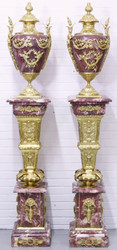 Casa Padrino baroque vases with marble pillars set red / gold 30 x 30 x H. 180 cm - Noble & Sumptuous