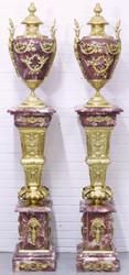 Casa Padrino Barock Vasen mit Marmor Säulen Set Rot / Gold 30 x 30 x H. 180 cm - Edel & Prunkvoll