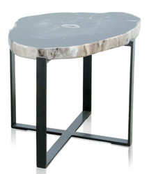 Casa Padrino luxury coffee table with a petrified wood table top in dark natural color / black - Living Room Table