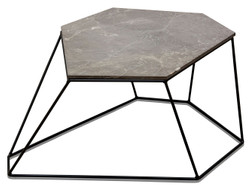 Casa Padrino designer coffee table gray with pattern / black 75 x 58 x H. 35 cm - Luxury Living Room Table with Marble Top