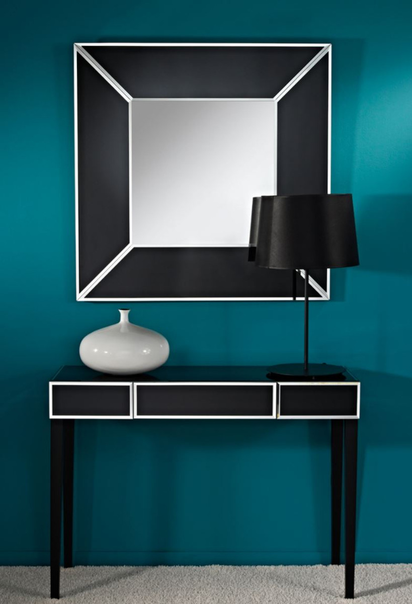 Casa padrino luxury mirror black 90 x h 90 cm luxury for Miroir 90x90