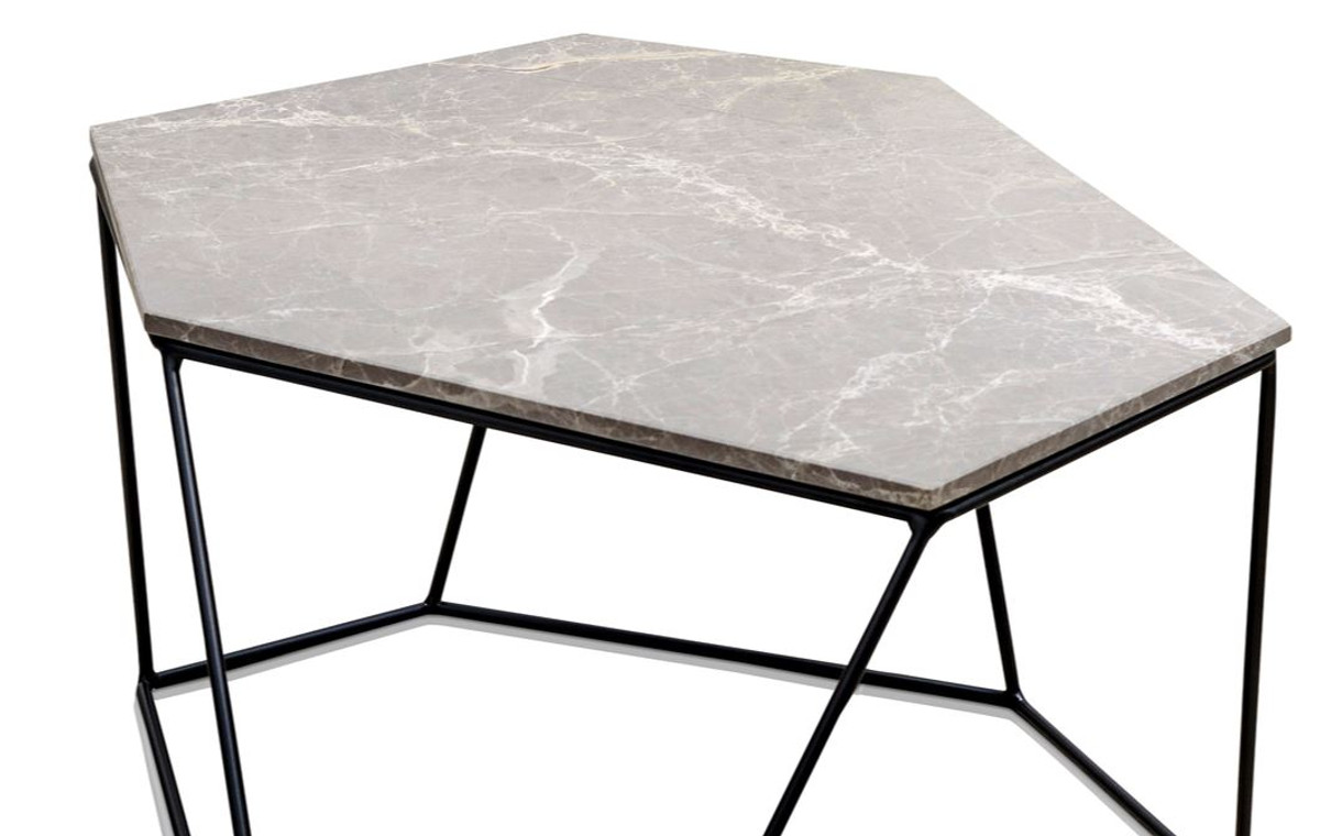 Casa Padrino Designer Couchtisch Grau Schwarz 75 X 58 X H 35 Cm
