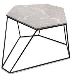 Casa Padrino designer coffee table gray / black 75 x 58 x H. 35 cm - Luxury Living Room Table with Marble Top