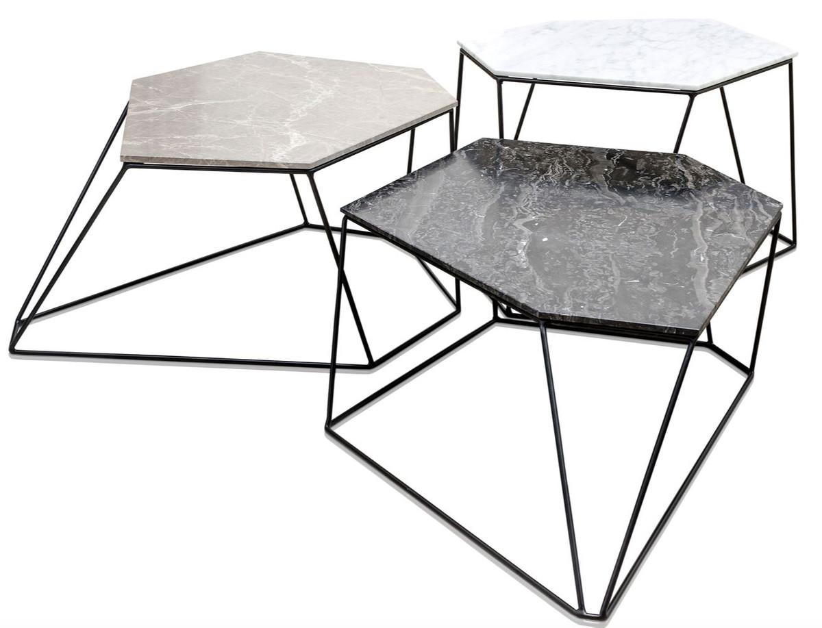 Casa Padrino Designer Couchtisch Set Weiß Grau Schwarz Luxus