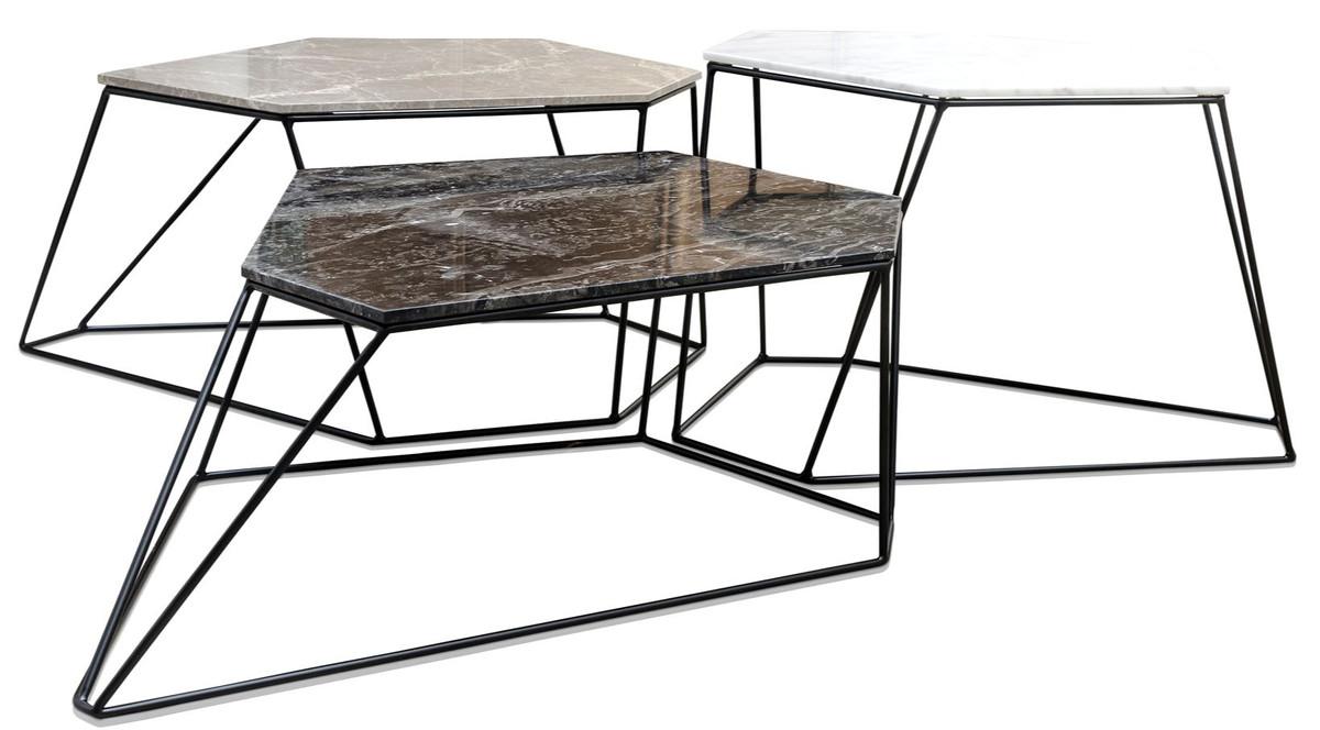 Casa Padrino Designer Couchtisch Set Weiss Grau Schwarz Luxus
