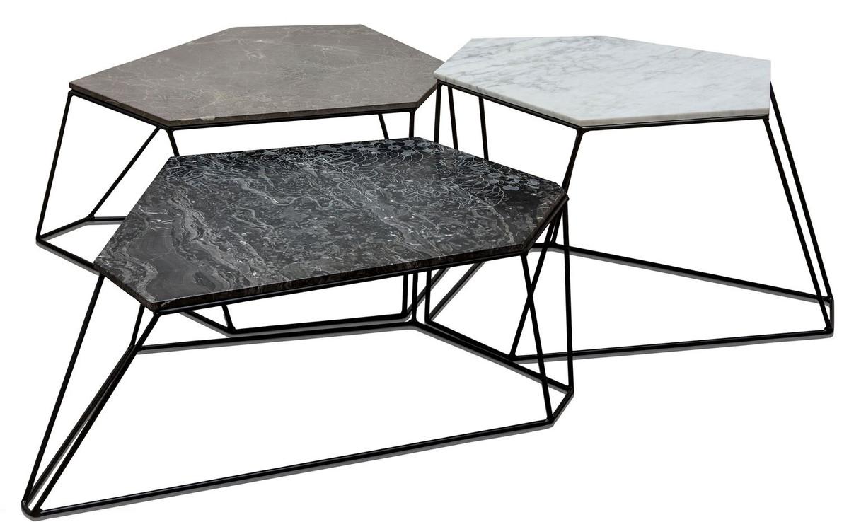 casa padrino designer couchtisch set wei grau schwarz mit muster luxus wohnzimmerm bel. Black Bedroom Furniture Sets. Home Design Ideas