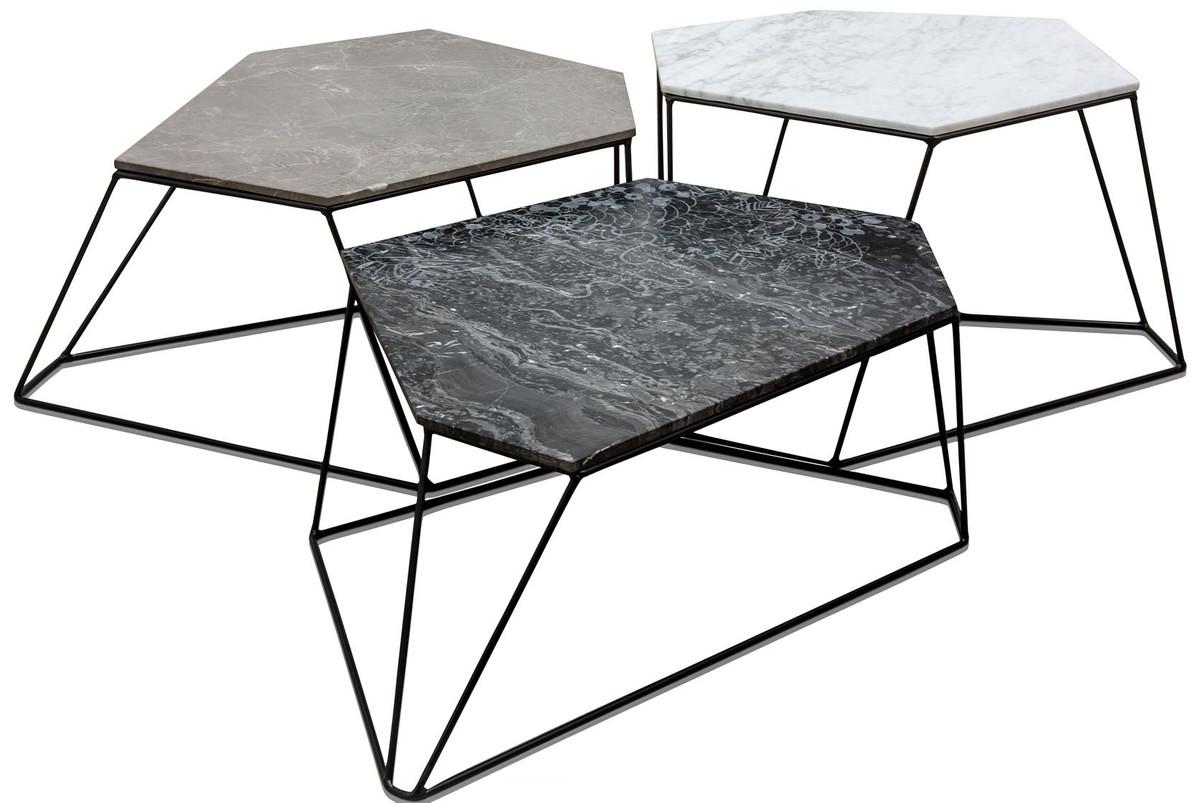 Casa Padrino Designer Couchtisch Set Weiss Grau Schwarz Mit