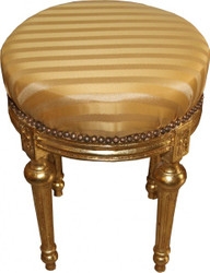 Casa Padrino Baroque Stool - round stool Gold cream stripes / gold Mod2 - Baroque furniture Stool