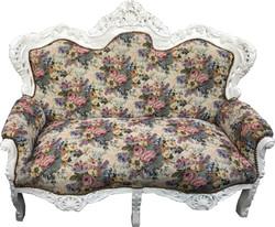 Casa Padrino Barock 2er Sofa Master Blumen Muster / Weiss - Möbel Antik Stil