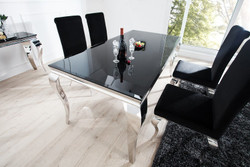Casa Padrino Luxury Dining Set Black / Silver - Dining Table 200 cm + 4 Chairs - Luxury Quality - Modern Baroque