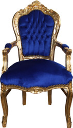 Casa Padrino Baroque Dining Chair Blue / Gold with Armrests - Chair - Baroque Chair - Furniture