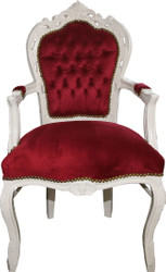 Casa Padrino Baroque Dining Chair Bordeaux / cream with Armrests - Chair - Baroque Chair - Furniture