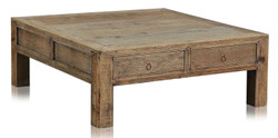 Casa Padrino luxury coffee table with 4 drawers natural colors 100 x 100 x H. 38 cm - Living Room Table