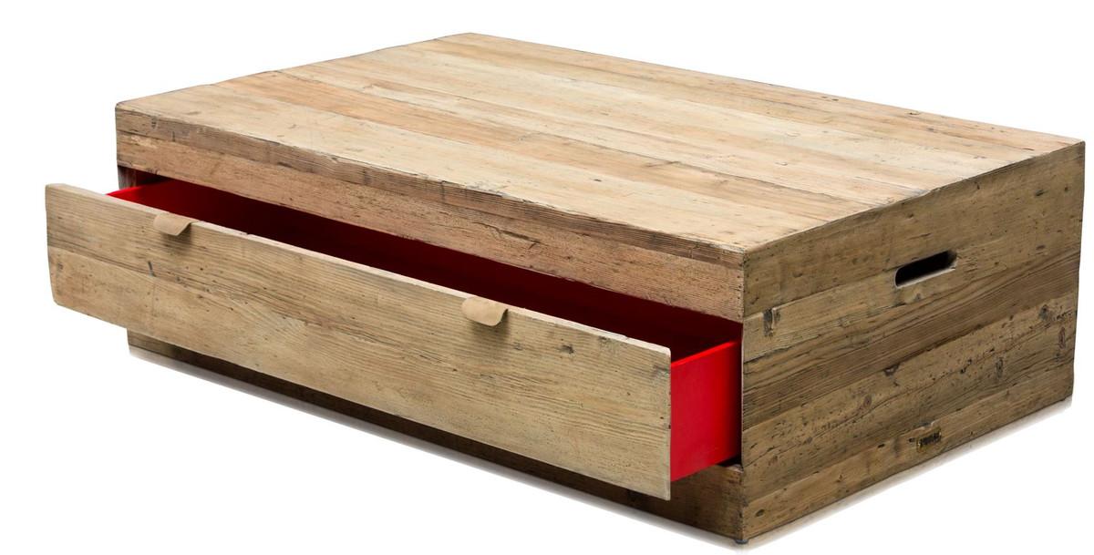 casa padrino landhausstil couchtisch mit schublade naturfarben 130 x 80 x h 40 cm. Black Bedroom Furniture Sets. Home Design Ideas