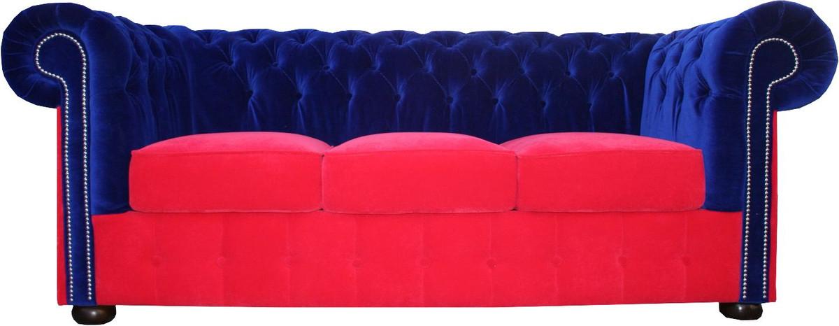 casa padrino chesterfield 3er sofa in blau rot 200 x 90 x h 78 cm luxus qualit t sofas luxus. Black Bedroom Furniture Sets. Home Design Ideas