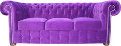 Casa Padrino Chesterfield 3 seater sofa in purple 200 x 90 x H. 78 cm - luxury quality