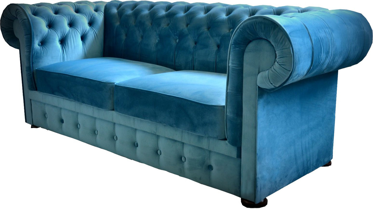 casa padrino chesterfield 2er sofa in blau 160 x 90 x h 78 cm luxus chesterfield sofa sofas. Black Bedroom Furniture Sets. Home Design Ideas