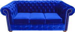 Casa Padrino Chesterfield 3 seater sofa in Royal Blue 200 x 90 x H. 78 cm - luxury quality