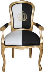 Pompöös by Casa Padrino baroque dining chair with armrests black / white / gold - Pompöös baroque chair designed by Harald Glööckler
