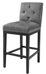 Casa Padrino luxury bar chair dark gray / black 51 x 63 x H. 110 cm - Hotel Restaurant Club Furniture