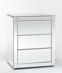 Casa Padrino Luxus Spiegelglas Nachttisch mit 3 Schubladen 50 x 42 x H. 59 cm - Schlafzimmermöbel