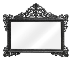 Casa Padrino baroque wall mirror black 190 x H. 155 cm - Living Room Mirror in Baroque Style
