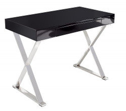 Casa Padrino desk black / silver 100cm with drawer - designer collection