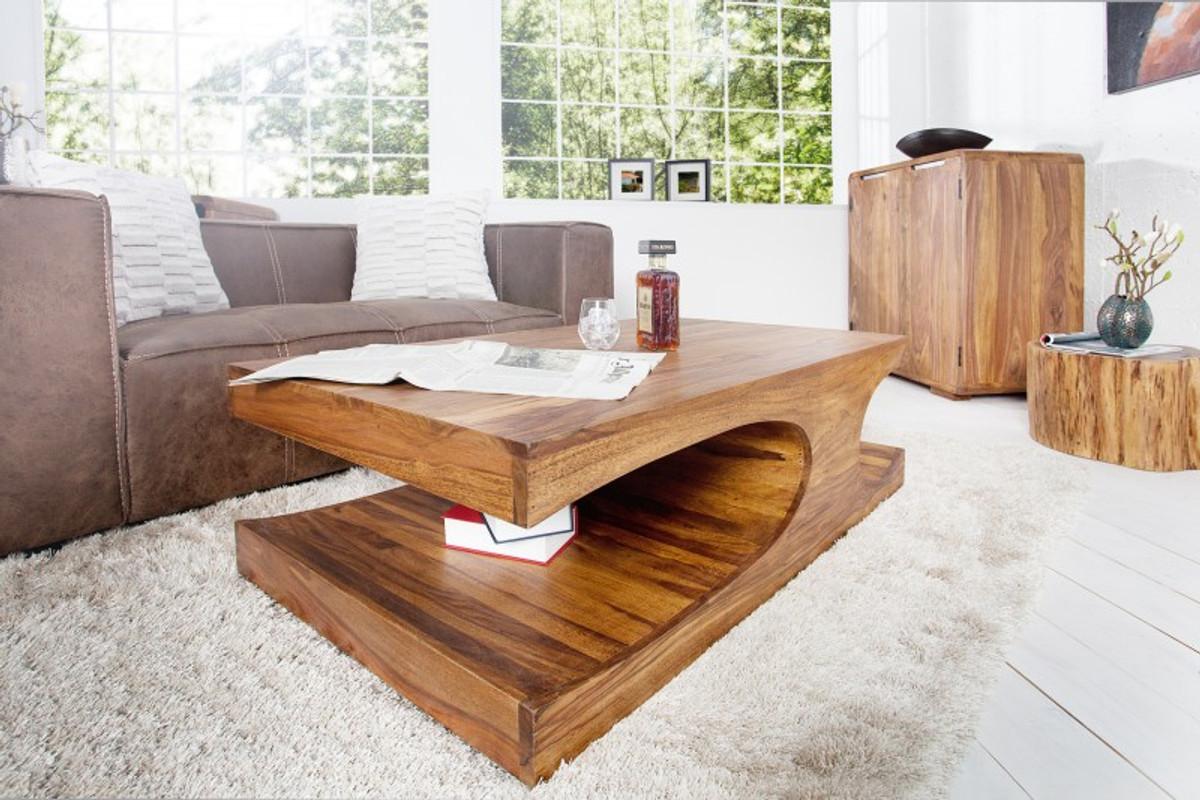 Tavolino da salotto in legno massello di design Casa Padrino nature ...
