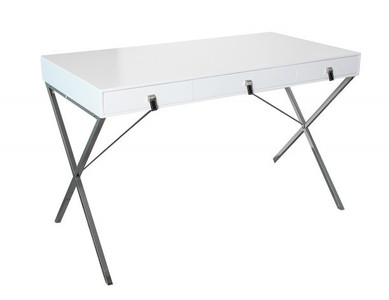 Casa Padrino desk white / silver 120cm with 2 drawers - Designer Collection – Bild 1