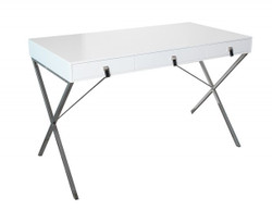 Casa Padrino desk white / silver 120cm with 2 drawers - Designer Collection
