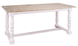 Casa Padrino country style dining table natural colors / white 180 x 90 x H. 78 cm - Country Style Dining Room Furniture