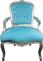 Casa Padrino Baroque Salon Chair Light Blue / Silver Mod1
