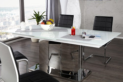 Designer dining table high gloss white Extendable 180 - 220 x 90 x H.75 cm from Casa Padrino
