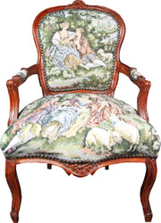 Casa Padrino Baroque Salon Chair Tapestry / Brown
