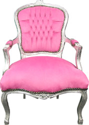 Casa Padrino Baroque Salon Chair Pink / Silver - Baroque Antique Style Furniture