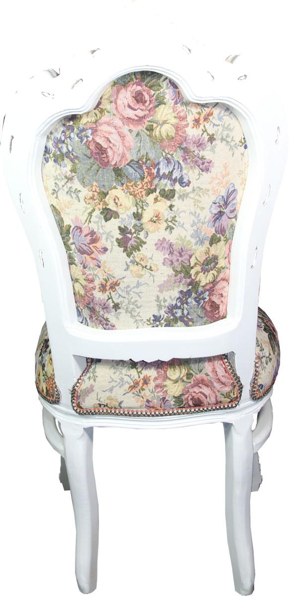 Casa Padrino Barock Esszimmer Stuhl Blumen Muster Antik Weiss Mod