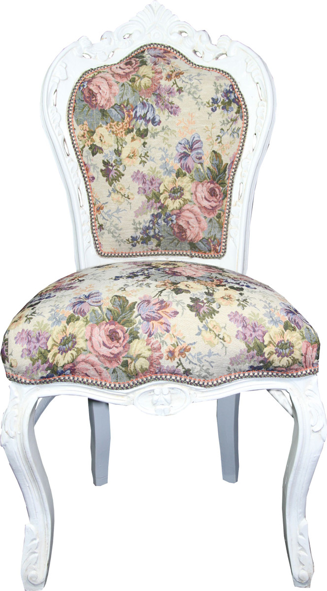 Casa Padrino Barock Esszimmer Stuhl Blumen Muster / Antik Weiss Mod 2    Antik Stil Möbel