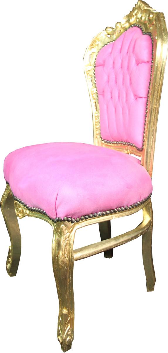 Casa Padrino Barock Esszimmer Stuhl Rosa Gold Mod3