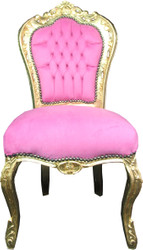 Casa Padrino Baroque Dining Chair Pink / Gold Mod3 - Limited Edition