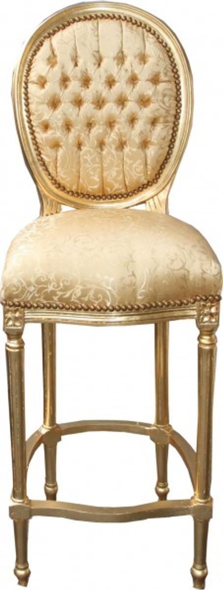Casa Padrino Barock Bar Stuhl Gold Muster / Gold - Hochstuhl Barstuhl Barhocker - Club Möbel 1