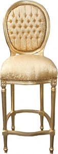 Casa Padrino Barock Bar Stuhl Gold Muster / Gold - Hochstuhl Barstuhl Barhocker - Club Möbel