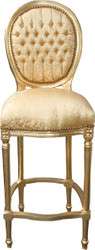 Casa Padrino Baroque Bar Chair Gold Pattern / Gold - high chair bar chair bar stool - Club Furniture