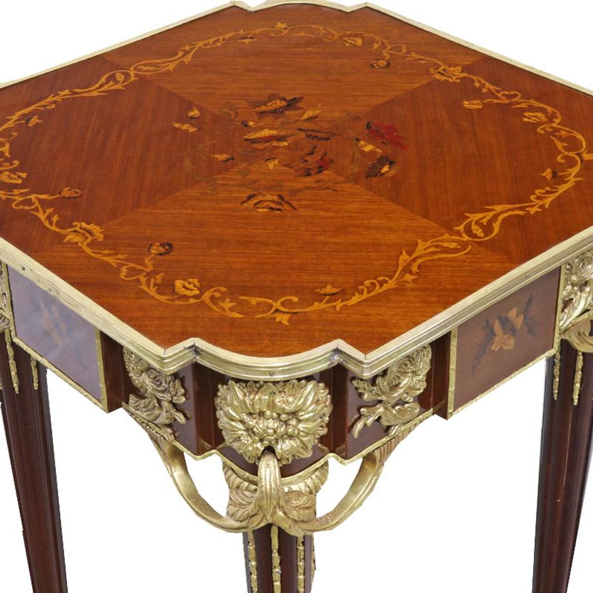 Casa Padrino Barock Beistelltisch Mahagoni Intarsien / Gold H75 x 50 cm - Ludwig XVI Antik Stil Tisch - Möbel 3