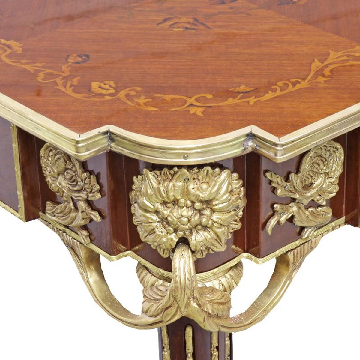 Casa Padrino Barock Beistelltisch Mahagoni Intarsien / Gold H75 x 50 cm - Ludwig XVI Antik Stil Tisch - Möbel 2